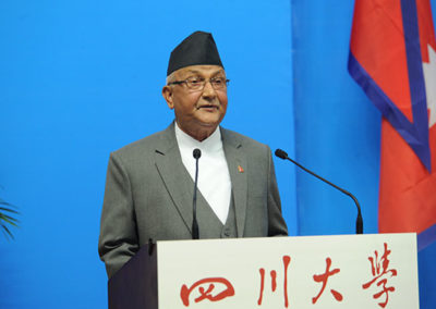 Rt. Hon. Mr.K.P.Sharma Oli, Prime Minister of Nepal addressing in Sichuan University during his visit in 2016.